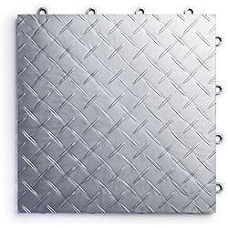 RaceDeck Diamond Plate Design, Durable Interlocking Modular Garage Flooring Tile (48 Pack), Alloy