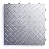 RaceDeck Diamond Plate Design, Durable Interlocking Modular Garage Flooring Tile (12 Pack), Alloy