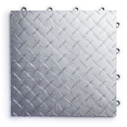RaceDeck Diamond Plate Design, Durable Interlocking Modular Garage Flooring Tile (48 Pack), (Interlocking Garage Floor)