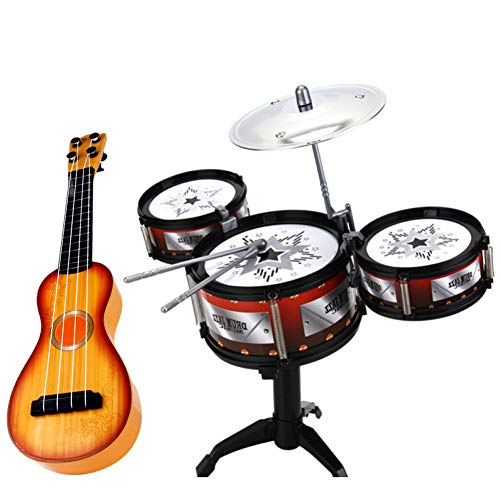 Myfreed Kids Drum Set 3 Drum Set Junior Drum Set Beginners Drum Kit Educational Musical Instrument Toy Playset for 3-8 Years Olds (3 Drum Set with Ukelele)