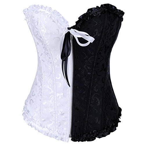 Absolutely Perfect Women Embroidered Montage Overbust Corset Gothic Bustier Top Black White Small(US: 2-4)