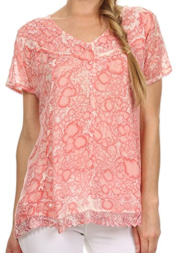 Sakkas 15776 - Charolette Embroidery And Seqiun Accents Blouse - Coral - OSP