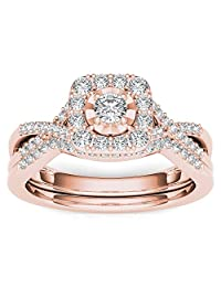 3/8 Carat Natural Round Diamond 10K Rose Gold Twist-Shank Halo Engagement Ring Set (H-I,I2)