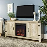 WE Furniture AZ58FPBDWO Fireplace Stand, White Oak For Sale