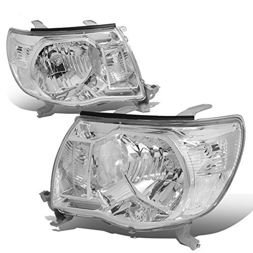 Pair of Chrome Housing Clear Corner Headlights Lamps for Toyota Tacoma 05 06 07 08 09 10 11 ()