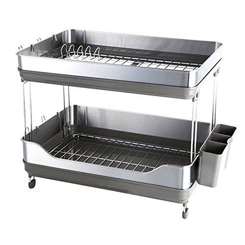 Sink Dish Drying Rack Stainless Two Tier Shelf Liner Dish Ho