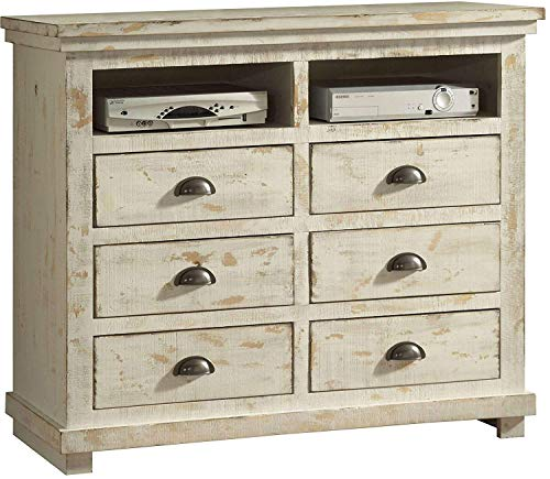 (Simple Interior 6 Drawer Media Chest - Modern Entertainment Center - Media Storage Console - Contemporary Chest of Drawers (Distressed White))