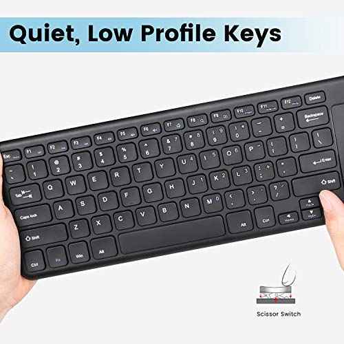 Perixx PERIBOARD-716 Wireless Keyboard with Touchpad, Support Multiple Devices Connection with TV, Tablet and Smartphone, X Type Scissor Keys, Black