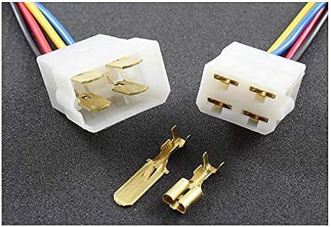 Tama Kabel Draht Multi Plug Block Verbinder 4 Fach Mit Crimpklemmen 2 Set Stecker Buchse Auto
