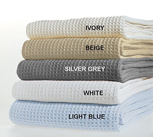 "TreeWool, 100% Soft Premium Cotton Thermal Blanket Lightweight Easy Care Comfortable and Warm (Twin - 66"" x 90"", Waffle Weave, White)"