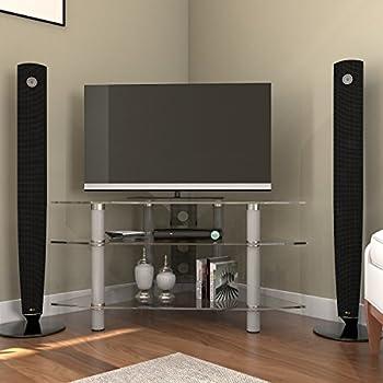 Amazoncom Walker Edison Glass Corner TV Stand Silver Kitchen - Abt tv stands