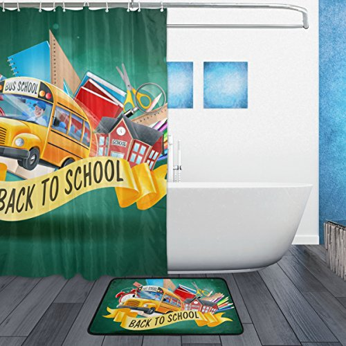 U LIFE Welcome Hello Back To School Season Bus Shower Curtain Set and Bathroom Area Rugs Mats 60 x 72 inch by ALAZA (Image #1)