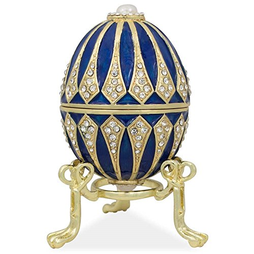 BestPysanky Blue Enamel Jeweled Royal Inspired Russian Easter Egg 3.25 Inches