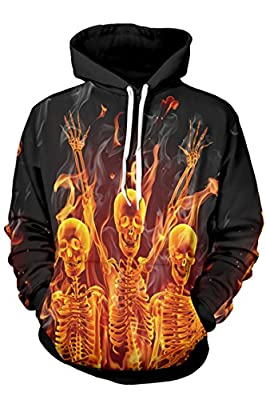 Kisscy Unisex Winter Fall 3D Printed Pouch Pocket Drawstring Hooded Sweatshirt Hoodies