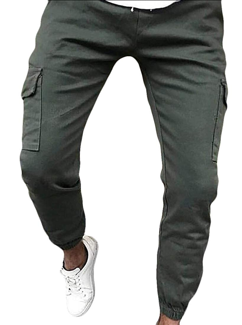 desolateness Mens Multi Pocket Military Combat Work Pants Relaxed-Fit Cargo Pants