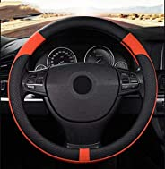 ROER Car Steering Wheel Cover with Comfortable, Breathable Leather and Skidproof Design,Universal Fit(14.5-15
