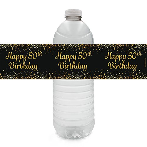 Black and Gold 50th Birthday Party Water Bottle Labels (20 Count)