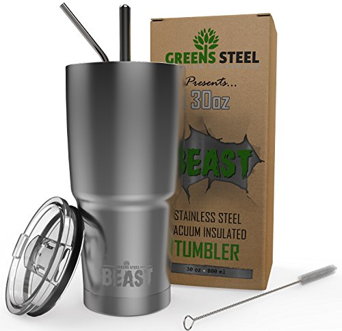 BEAST 30oz Stainless Steel Tumbler Vacuum Insulated Rambler Coffee Cup Double Wall Travel Flask Mug with Splash Proof Lid, 2 Straws, Pipe Brush & Gift Box Bundle By Greens Steel