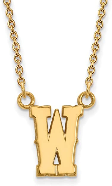 925 Sterling Silver Yellow Gold-Plated Official University of Montana Small Pendant Necklace Charm Chain Width = 16mm with Secure Lobster Lock Clasp