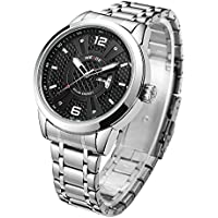 WEIDE Solar Watch for Men Analog Quartz Watches Date Day Watch Stainless Steel Wrist Watch for Men Luxury with Gift Box 7 inch Band Length (Silver)