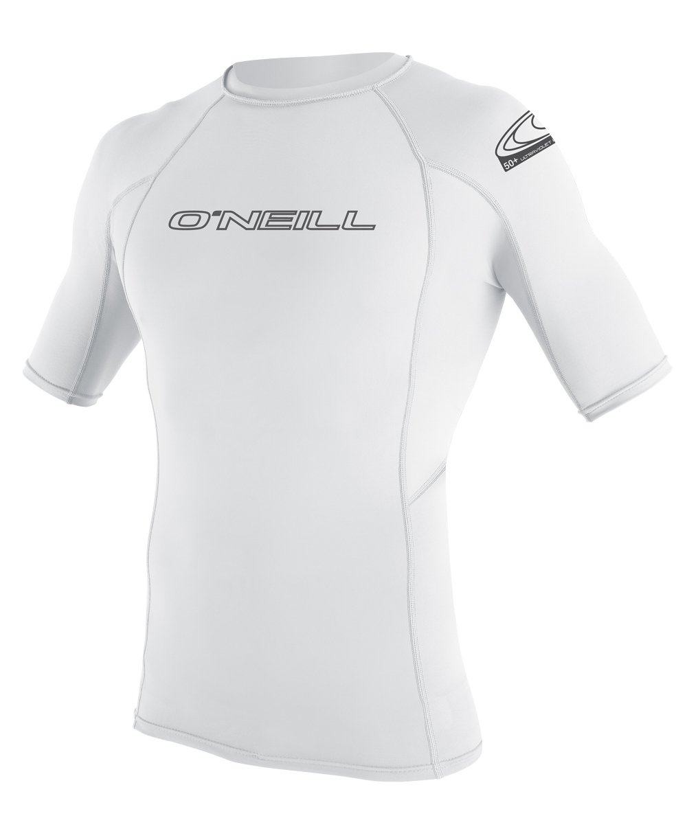 O'Neill Wetsuits Wetsuits UV Sun Protection Mens Basic Skins Short Sleeve Crew Sun Shirt Rash Guard, White, Medium by O'Neill Wetsuits
