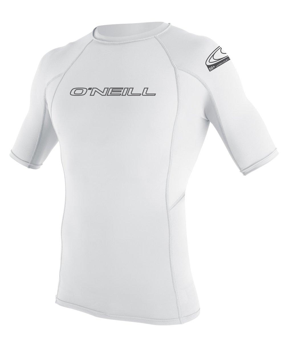 O'Neill  Men's Basic Skins UPF 50+ Short Sleeve Rash Guard, White, Small