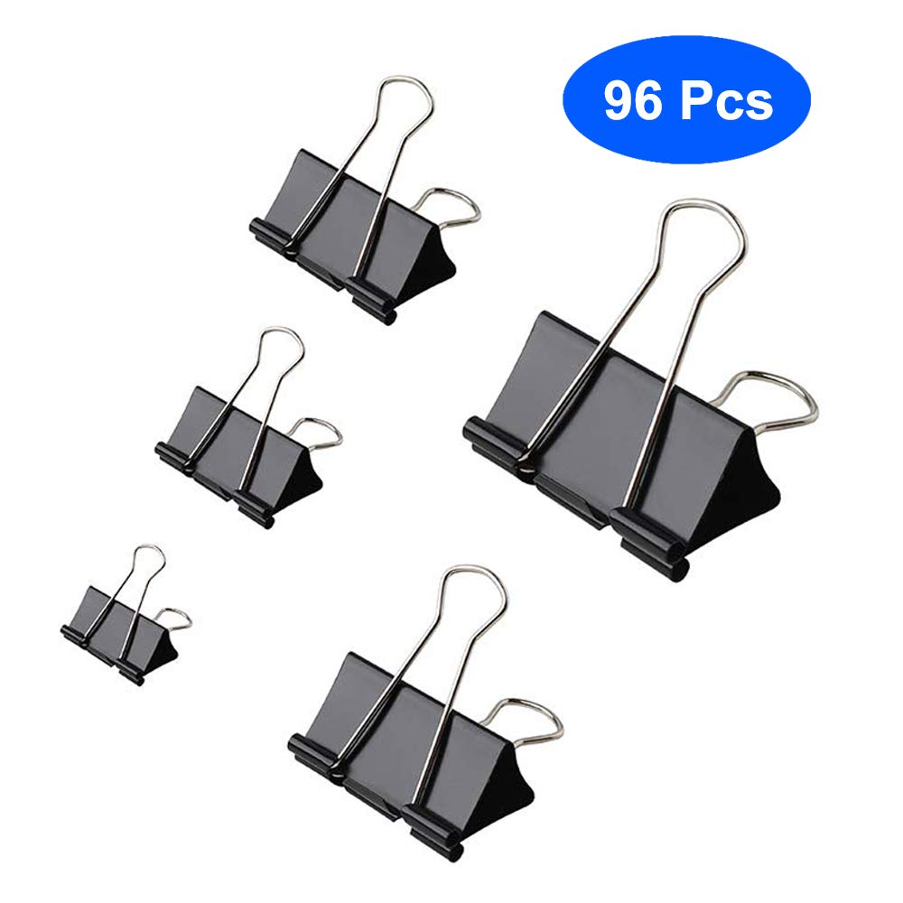 Aelfox 96 Pcs Binder Clips Assorted Sizes Paper Clamps School and Office Supplies Black Mini//Small//Medium//Large//Extra Large 5 Sizes for Home