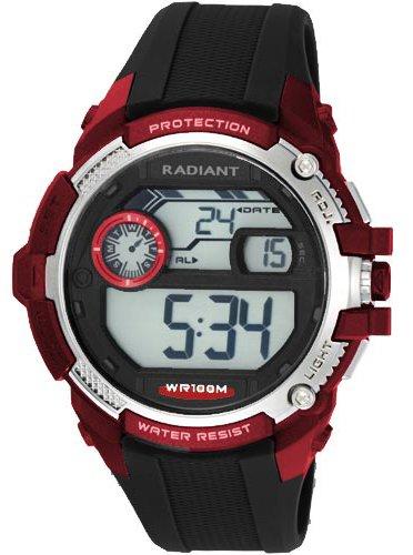RA315602 Reloj Radiant Caballero,digital,correa de caucho negra,sumergible 100 metros,garantía 2 años.: Amazon.es: Relojes