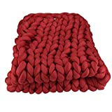 Braid Cotton Chunky Knit Blanket,47''x59'' Tube Yarn Blanket,Arm Knit Blanket,Super Chunky Knit Throw,Chunky Knit Tube Yarn Blanket
