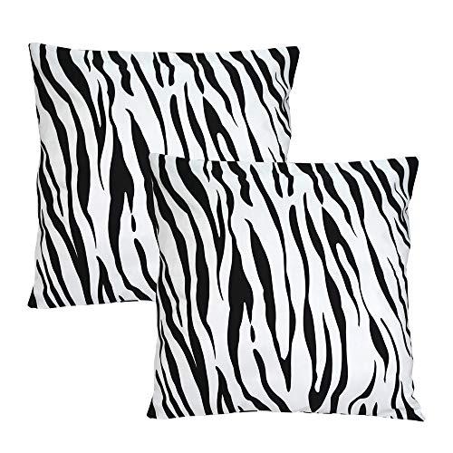 TEALP Pillow Cover 26x26 Black and White Pattern Zebra Stripes Design Set of 2