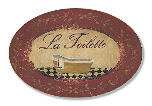 The Stupell Home Decor Collection La Toilette with Gold Claw Foot Tub Rustic Red Oval Bathroom Wall Plaque