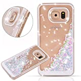 Samsung Galaxy S7 Edge case,Crosstree Liquid, Appmax Cool Quicksand Moving Stars Bling Glitter Floating Dynamic Flowing Case Liquid Cover for galaxy s7 edge. (Heart Pink&Blue)