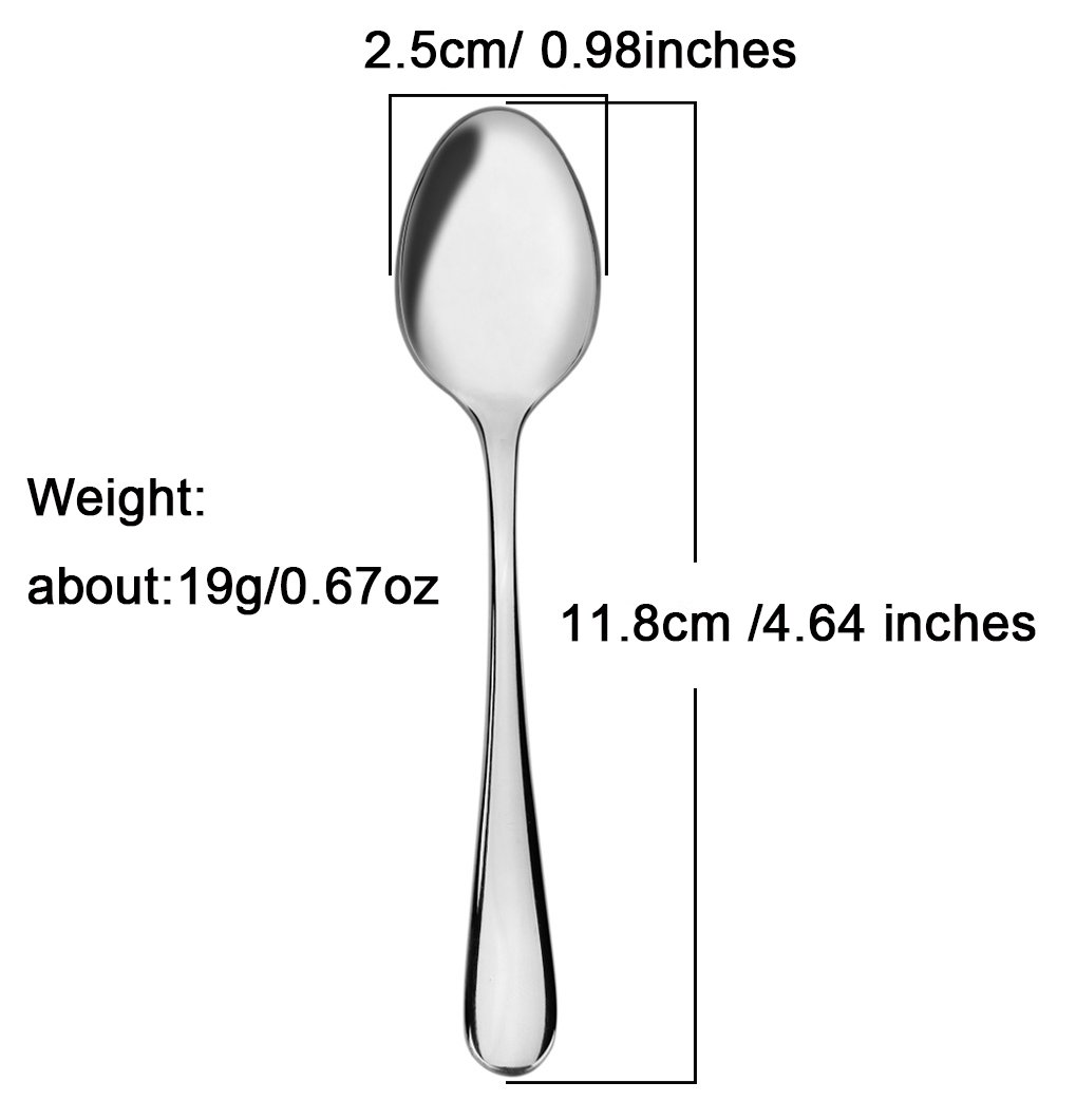 Demitasse Espresso Spoons, AOOSY 4.64 Inches Stainless Steel Mini Coffee Spoon, Set of 8 by AOOSY (Image #2)