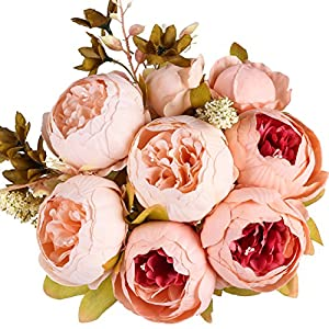 Ogrmar Vintage Artificial Peony Silk Flowers Bouquet for Home and Wedding Decoration 90