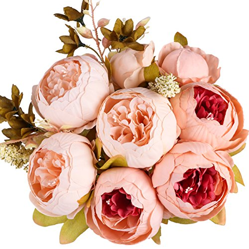 Ogrmar Vintage Artificial Peony Silk Flowers Bouquet for Decoration (Light pink) (Peony Flower Bouquet)