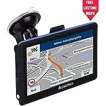 [Patrocinado] GPS Navigation AONEREX (5 inch/8GB) Vehicle GPS Navigation with System Lifetime Maps/Traffic, Navigation System Post Code, POI Search Speed Camera Alerts