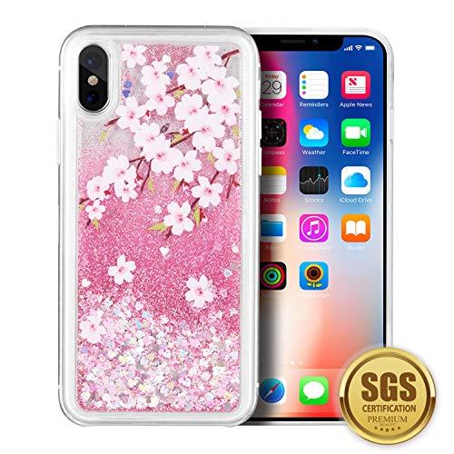 SumacLife - Carcasa Protectora para iPhone X, diseño de Cascada, Flores Rosadas de Cerezo, Rosado