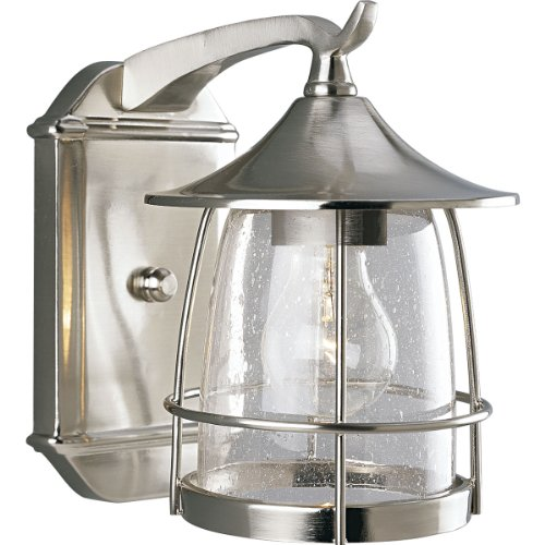 Progress Lighting P5763-09 1-Light Wall Lantern with Wire Frames and Clear Seeded Glass, Brushed (1 Light Wire Frame)