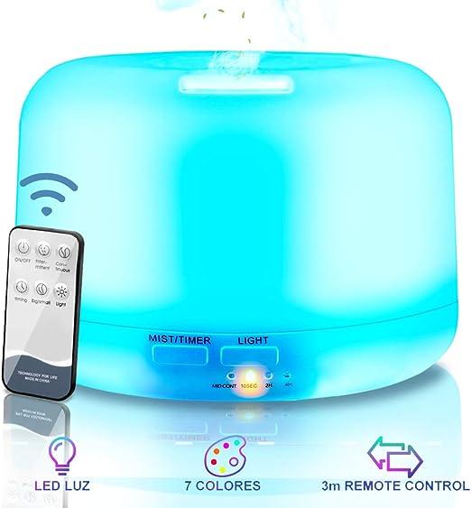 Difusor de Aceites Esenciales con Vapor Fr/ío,7-Color LED,6-Ajuste de Tiempo Fijo para Dormitorio Beb/és 5L Silencioso Hogar y Oficina VicTsing Humidificador Beb/é Ultras/ónico Purificador de Aire