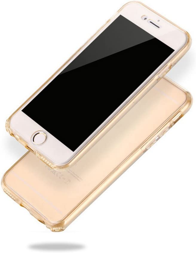 Cfrau Clear Case with Black Stylus Compatible with iPhone 7//8 4.7 inch,Ultra Thin Front and Back Full Body 360 Coverage Shockproof Soft Rubber Flexible TPU Case,Gold