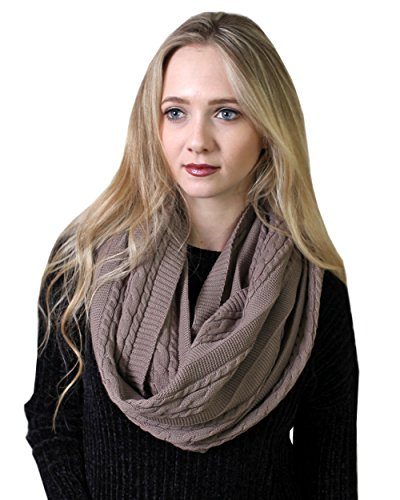 (Women's 100% Organic Cotton Cable Knit Infinity Scarf, Super Soft Stretch Warm Non-Toxic (4 COLORS) (Earth Brown))