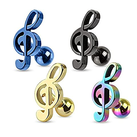 16G Treble Clef Music Note 316L Surgical Steel Tragus / Cartilage Barbell - Sold Individually (Music Note Cartilage)