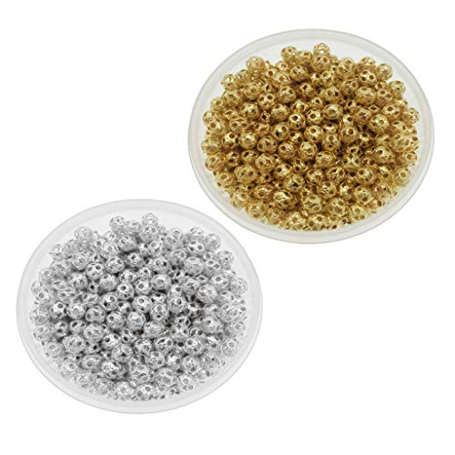 (Prettyia 1200pcs Filigree Hollow Ball Spacer Metal Beads for Jewelry Making, 4mm, Gold and Silver)