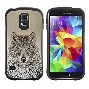 LASTONE PHONE CASE / Suave Silicona Caso Carcasa de Caucho Funda para Samsung Galaxy S5 SM-G900 / wolf native American pattern black drawing