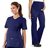 Cherokee Core Stretch Workwear Women's Maternity Scrub Top & Scrub Pant Set Large Navy
