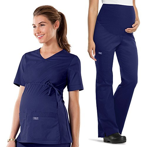 Cherokee Core Stretch by Workwear Women's Maternity Scrub Top & Scrub Pant Set X-Small Navy (Cherokee Set)