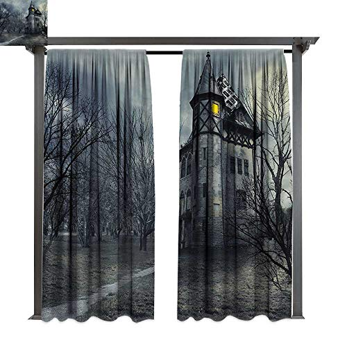 bybyhome Outdoor Door Curtain Halloween Halloween Design with Gothic Haunted House Dark Sky and Leafless Trees Spooky Theme W84 xL108 Suitable for Front Porch,pergola,Cabana,Covered Patio ()