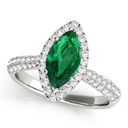 0.80 Ct. Ttw Elegant Look Diamond And Marquise Shape Created Emerald Ring In 10k White Gold