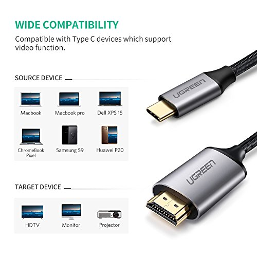 UGREEN USB C to HDMI Cable 4K 60HZ USB Type C Thunderbolt 3 HDMI Adapter Braided Cord for Macbook Pro, Samsung S10 Note 9 S9 S8 Plus Note 8,iMac 2017,Chromebook Pixel,LG V30 V20 G5,Dell XPS 15 13, 6FT