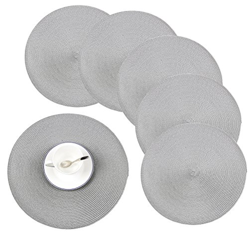 Round Placemats, Homcomoda Insulation Braided Edge Round Table Mats for Dining/Kitchen Table Placemats Set of 6, 15